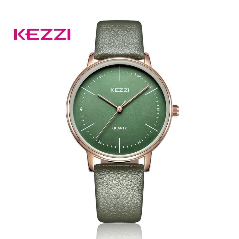 KEZZI Fashion Women Leather Watch Relogio Masculino Simple Large Dial Quartz Watch Couple Watch Men And Women