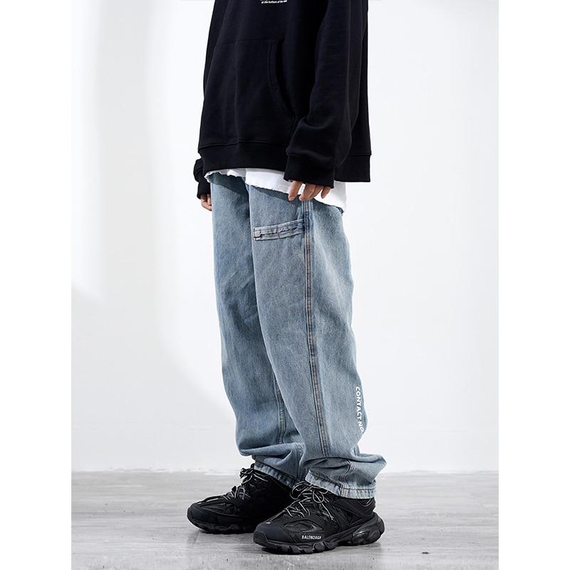 Washed Light Blue Vintage Jeans Mens Fashion Street Loose Straight Pants Old Denim Trousers Men Dad Jeans