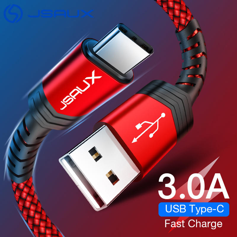 JSAUX USB Type C Cable for USB C Mobile Phone Cable 3A Fast Charging Type C Cable for Samsung S8 Xiaomi Redmi Note7 Charge Cord(China)