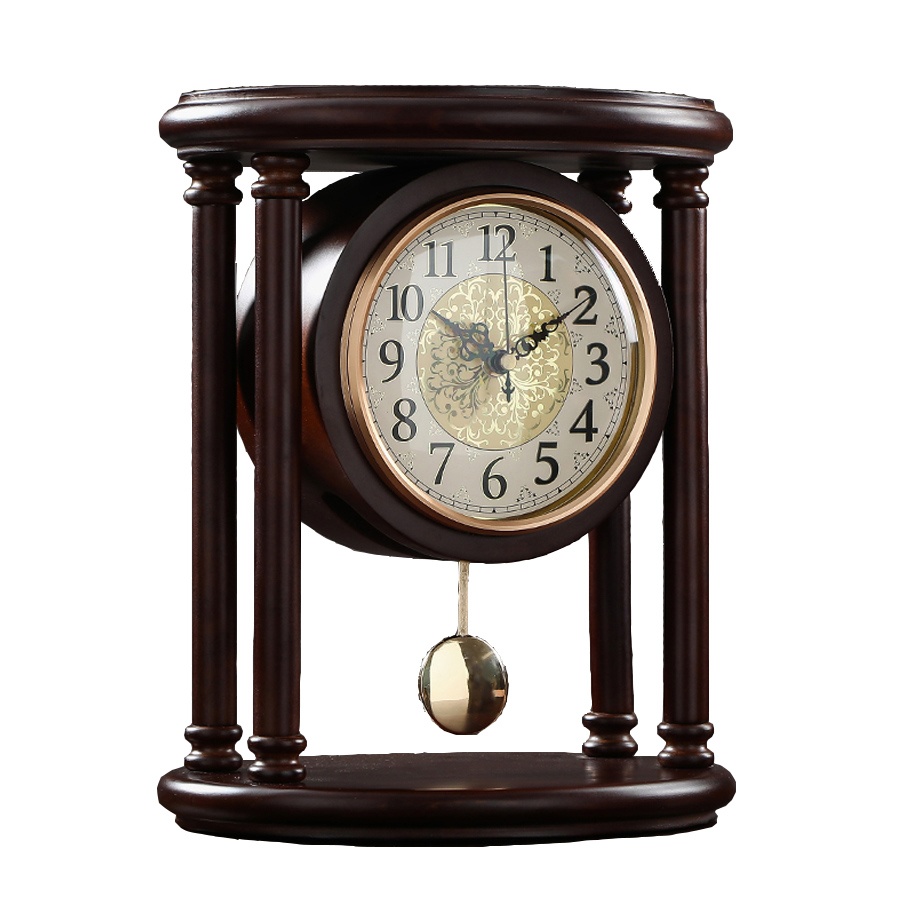 Vintage Retro Wooden Table Clock Living Room American Large Desk Clock Pendulum Clock Desktop Home Table Watch Decoration Gift