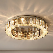 New Modern Ceiling Chandelier for Living Room Luxury Smoky Gray Crystal Light Fixture Bedroom Dining Room Lustre Lighting