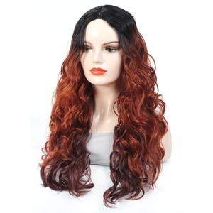 Мода предварительно вырезанные кружева, синтетические парики для чернокожих Для женщин высокое Температура волокна волос X-TRESS 28 дюймов эффектом деграде (переход от темного к темные корни красный Кудрявые Волнистые