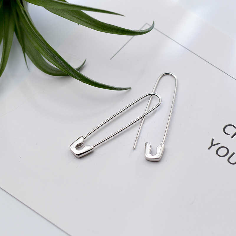 Trusta 2018 2Pcs Women Fashion 100% 925 Sterling Silver Paper Clip 3.7cmX0.7cm Dangle Earring For Girl Lady Madam Jewelry DS639