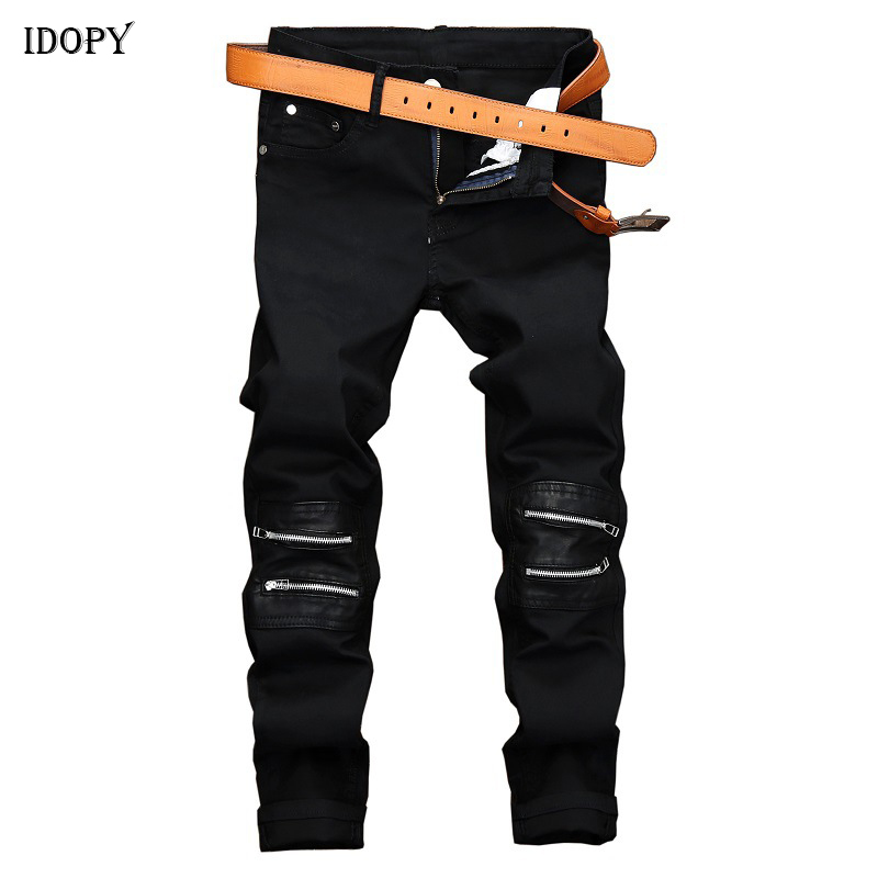 Idopy Men Hip Hop Jeans Knee Zippers Faux Leather Patchwork Slim Fit Night Club Punk Black Denim Pants Trousers
