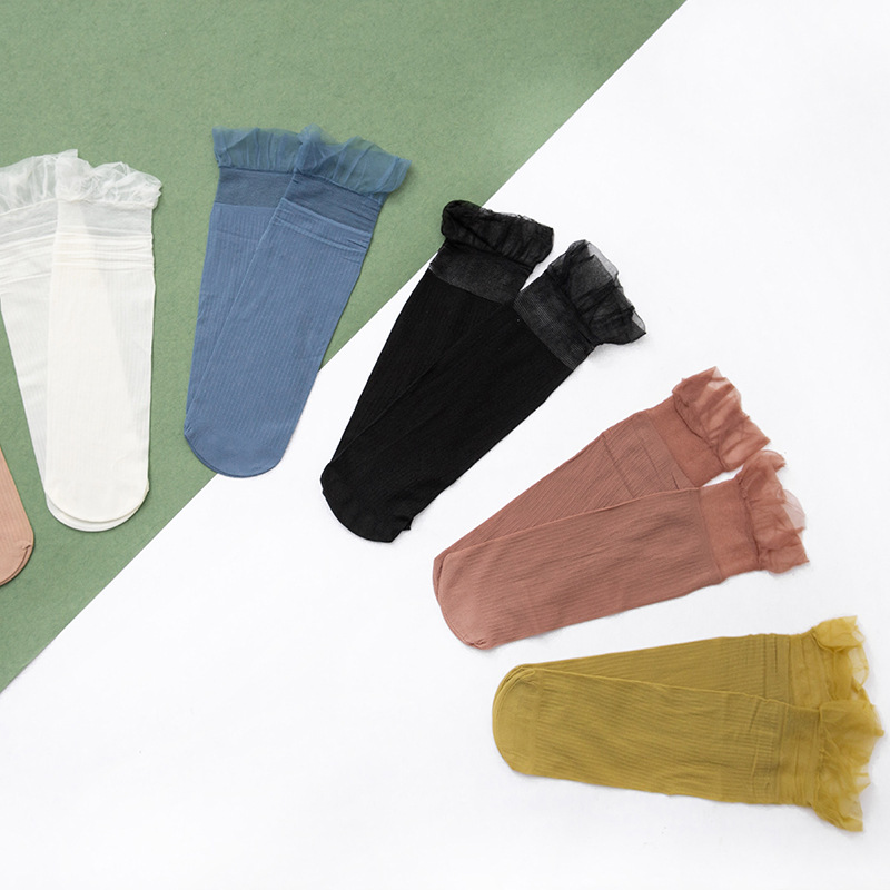 2 Pairs Lace Thin Sheer Socks Women Japanese Summer Cool Transparent Silk Crystal Solid Striped Female Dot Ventilate Ankle Socks