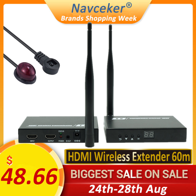 2020 5GHz Wireless HDMI Transmission Extender Support IR HDMI Wireless Transmitter Receiver Kit HD 1080P WIFI HDMI Transmitter
