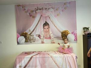 Image 5 - Avezano Princess House Tent Photography Background Pink Polka Dots Flower Girl Birthday Portrait Backdrop Photo Studio Photocall