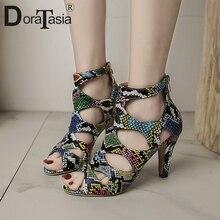 DORATASIA 2020 Hot Fashion Colorful Animal Print Sandals Summer Party Dress
