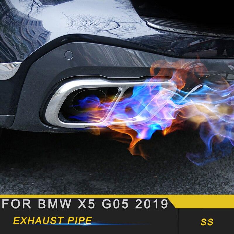 Pour BMW X5 G05 2019 voiture style queue tuyaux d'échappement tuyau silencieux cadre couverture garniture autocollant accessoires extérieurs