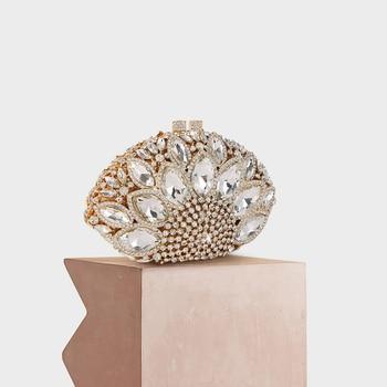 Women Fashion Luxury Evening Handbag Big Rhinestone Crystal Diamond Studded Metal Clutch Purse Crossbody Shoulder Lady Party Bag
