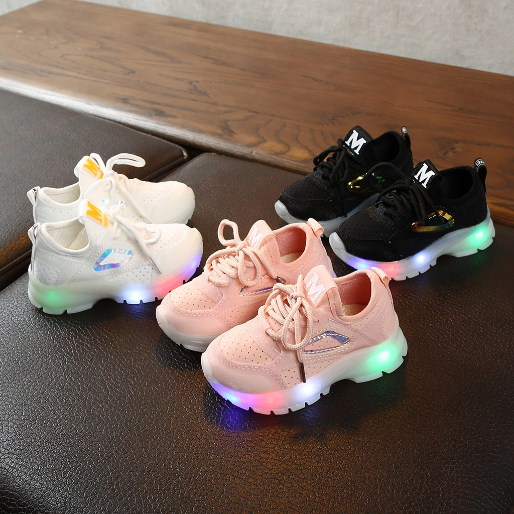 Led Glow Children Sports Shoes Baby Girls Boys Sequin Breathable Mesh Sneakers Children Led Luminous Sport Non-slip Run Shoes
