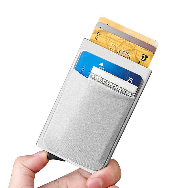 Rfid titular do cartão de crédito carteira masculina metal fino carteira de alumínio passe segredo pop up carteira pequena bolsa walet vallet 2019