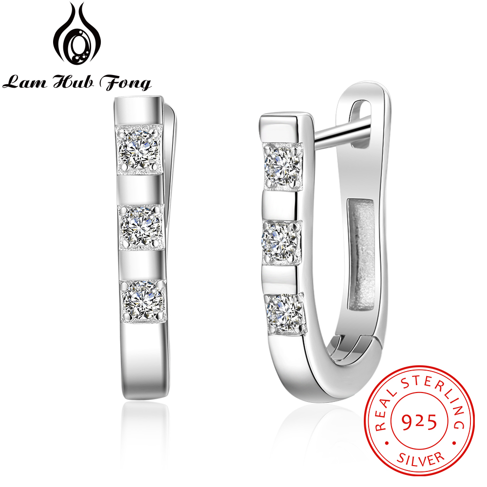 925 Sterling Silver Hoop Earrings Geometric Silver 925 Dazzling Earrings Korean Fashion Jewelry Fine Jewelry (Lam Hub Fong)