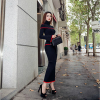2020 new spring and autumn Fashion tight sexy brand female women ladies girls long sleeve knitting Sweater skirt suits clothing
