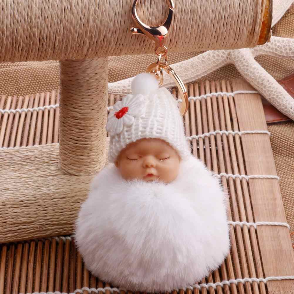 2019 New Cute Sleeping Baby Fluffy Pompom Plush Doll Hanging Pendant Key Ring Keychain/key ring Sleeping Baby Doll Keychain HOT