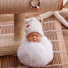 2019 New Cute Sleeping Baby Fluffy Pompom Plush Doll Hanging Pendant Key Ring Keychain/key ring Sleeping Baby Doll Keychain HOT