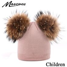 Детская вязаная осенне-зимняя шапка с двумя помпонами, Шапка-бини с арбузом, меховая шапка с помпонами для мальчиков и девочек, теплая мягкая шапка с черепами для детей