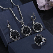 Vintage Gem Jewelry Set for Women Fashion Antique Silver Jewelry Set Crystal Round Stone Pendant Necklace Set Ring Earring 3PCS