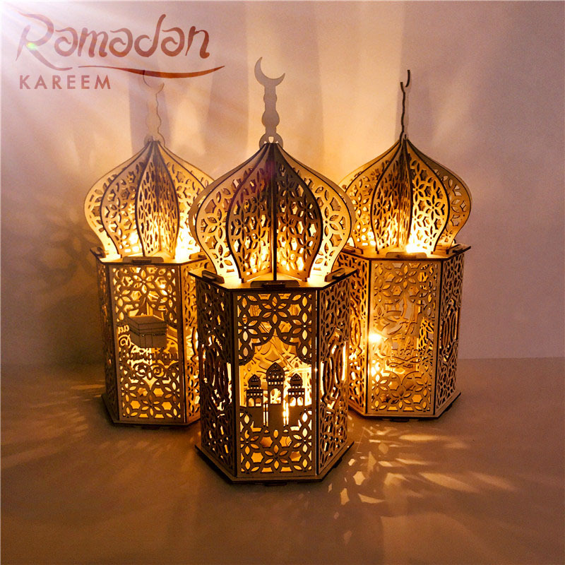 Happy Wooden EID MUBARAK LED Palace Light Islamic 2020 Ramadan Kareem Pendant Home Decor Eid Al Adha EID Muslim Ramadan Gift