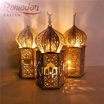 Szczęśliwy drewniany MUBARAK EID LED pałac światła islamski 2021 Ramadan Kareem wisiorek wystrój domu Eid Al Adha EID muzułmanin Ramadan prezent tanie i dobre opinie CN (pochodzenie)