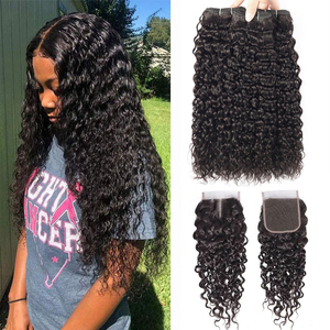 Sapphire Hair Water Wave Bundles With Closure Curly Brazilian Human Hair Bundles With Closure Mink Brazilian Hair Weave Bundles(China)