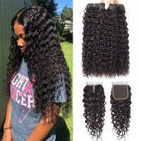 Sapphire Hair Water Wave Bundles With Closure Curly Brazilian Human Hair Bundles With Closure Mink Brazilian Hair Weave Bundles
