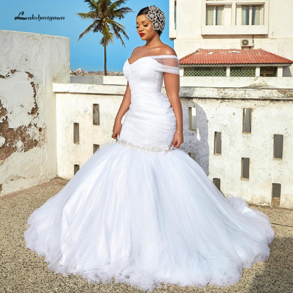 African Mermaid Wedding Dress Modest Bridal Dress Off The Shoulder Saudi Arabia Plus Size Wedding Gowns Robe Princesse Mariage