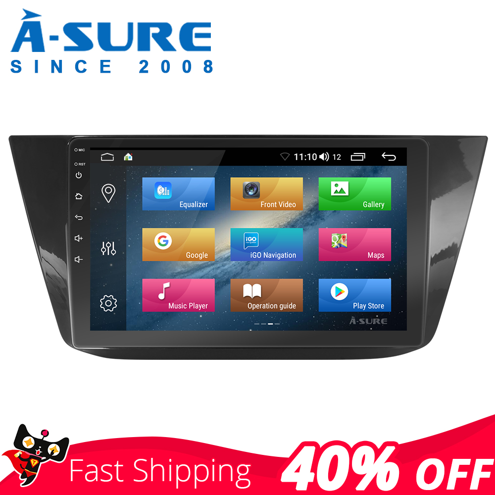 A-Sure Car Multimedia 10 Inch 8 core Android 8.1 Radio GPS Navigation For Volkswagen VW Tiguan L 2017 2018 DAB+ 4G DSP WIFI IPS image