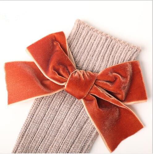 Winter new children's socks thick line knitting in tube socks female baby warm cotton socks fashion velvet bow piled socks 6