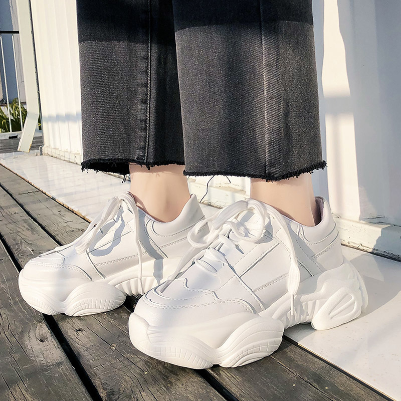 Women White Sneakers Platform Chunky Shoes Fashion Ladies Basket Female Trainers Leather Lace Up Casual Shoes Woman 2020 New