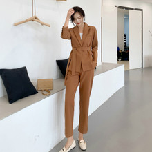 Fashion womens suit Pants Spring and autumn new slim solid color belt female Slim trousers two-piece