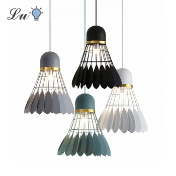 LED Iron Badminton Pendant Lights E27 Living Room Decoration Hanging Lamp Bedroom Interior Lighting Restaurant Cafe Pendant Lamp modern pendant lights spherical design white aluminum pendant lamp restaurant bar coffee living room led hanging lamp fixture