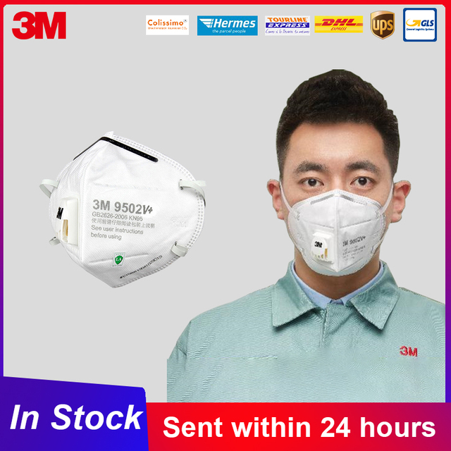 3M 9502V KN95 Face Mouth Mask KN95 Respirator Safety Mouth Masks Disposable Respirator Breathable 95% Filtration 3M 9502v+ Mask