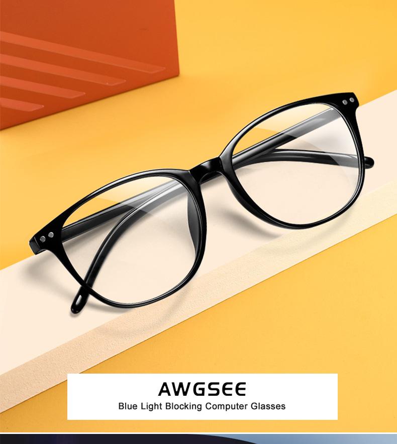 Awgsee ретро круглый синий светильник очки с блокировкой женские
