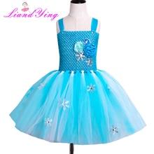 цена на Fancy 2-12y Baby Girl Princess Elsa Dress for Girls Clothing Wear Cosplay Elza Costume Halloween Christmas Party Tutu Dress