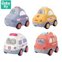 4pcs/set Babytry City Sound Light Cars Toys Cute Taxi Police Cartoon Model Friction Car Educational Baby Boys Gifts For Kid