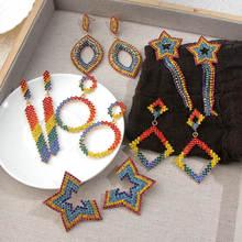 Женские серьги в стиле бохо flatfoosie подвески с кристаллами