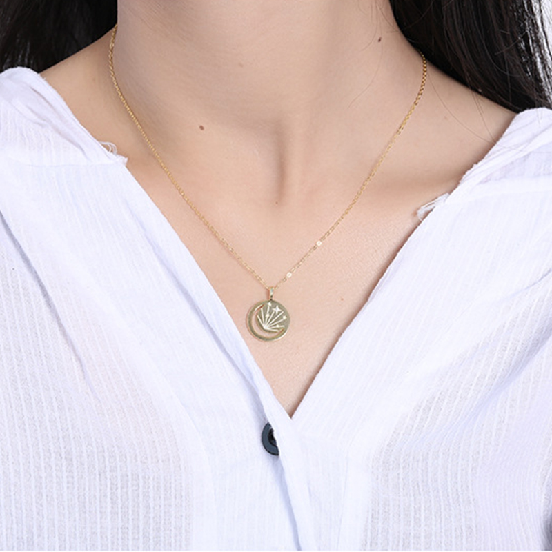 GHIDBK Dainty S925 Silver CZ Hollow Coin Pendant Necklaces Star&Moon Medallion Charm Chokers Cubic Zirconia Celestial Necklace