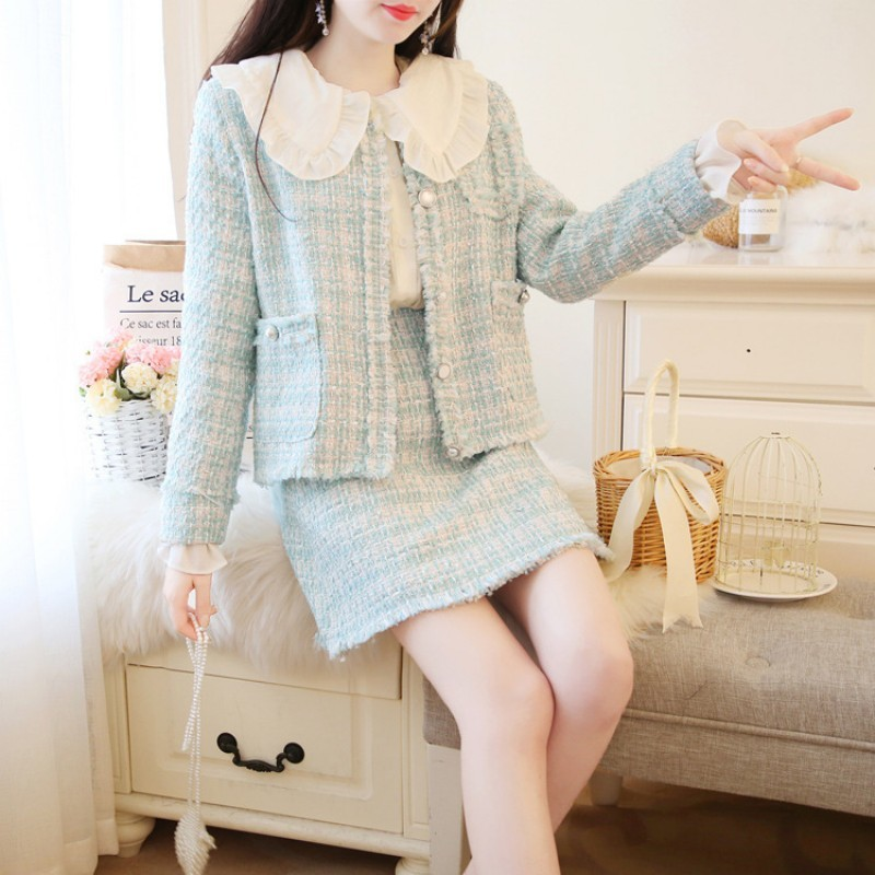 Sweet Peter Pan Collar Shirts Long Sleeve Single Breasted Short Coats High Waist A-Line Skirts Womens Slim Tweed 3Pcs Outfits