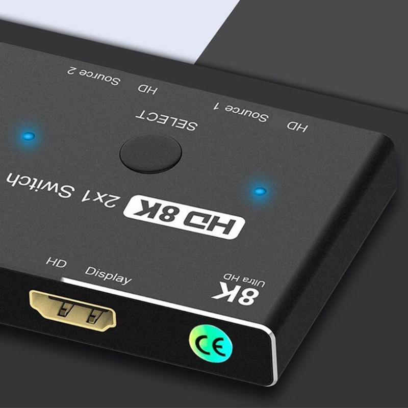 2021 novo hdmi2.1-compatível 8k switcher 2x1 dois-em-um-para