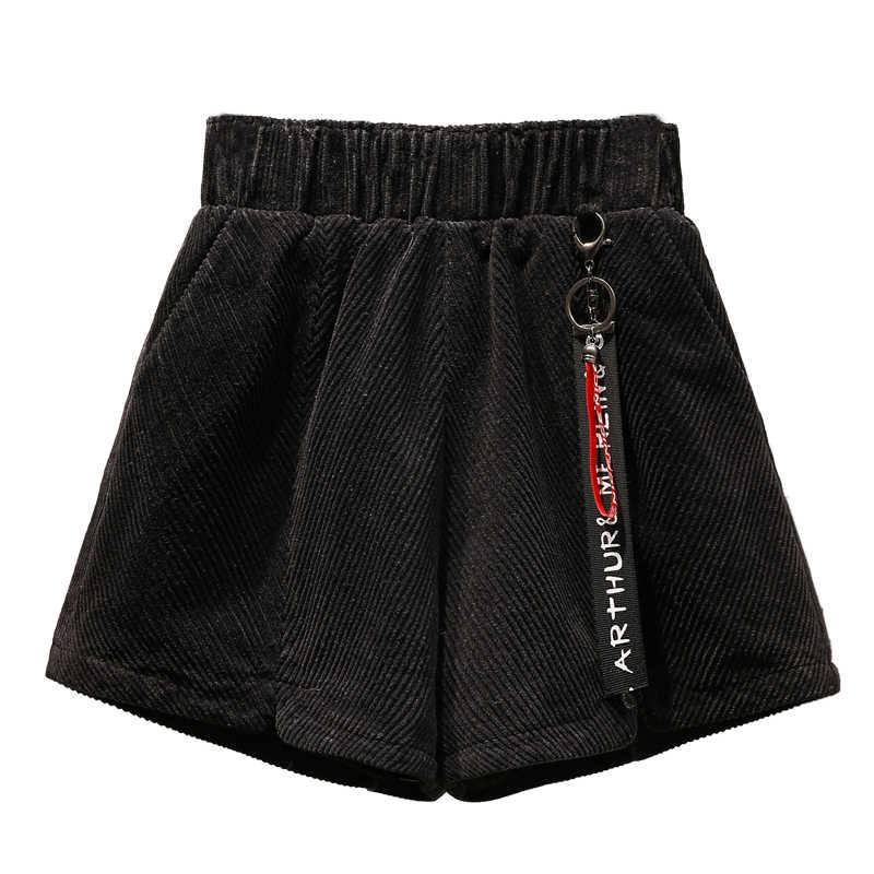 Veludo do vintage Shorts De Cintura Alta Plus Size Mulheres Shorts Feminino Outono Inverno Solto Botão Curto Shorts De Perna Larga
