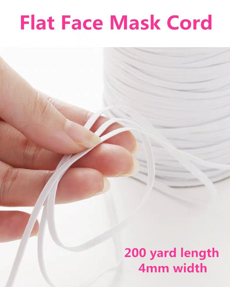 200yard Elastic Mask Strap Earloop Cord Flat Elastic Band Ear Tie Rope Handmade String For DIY Mask Sewing