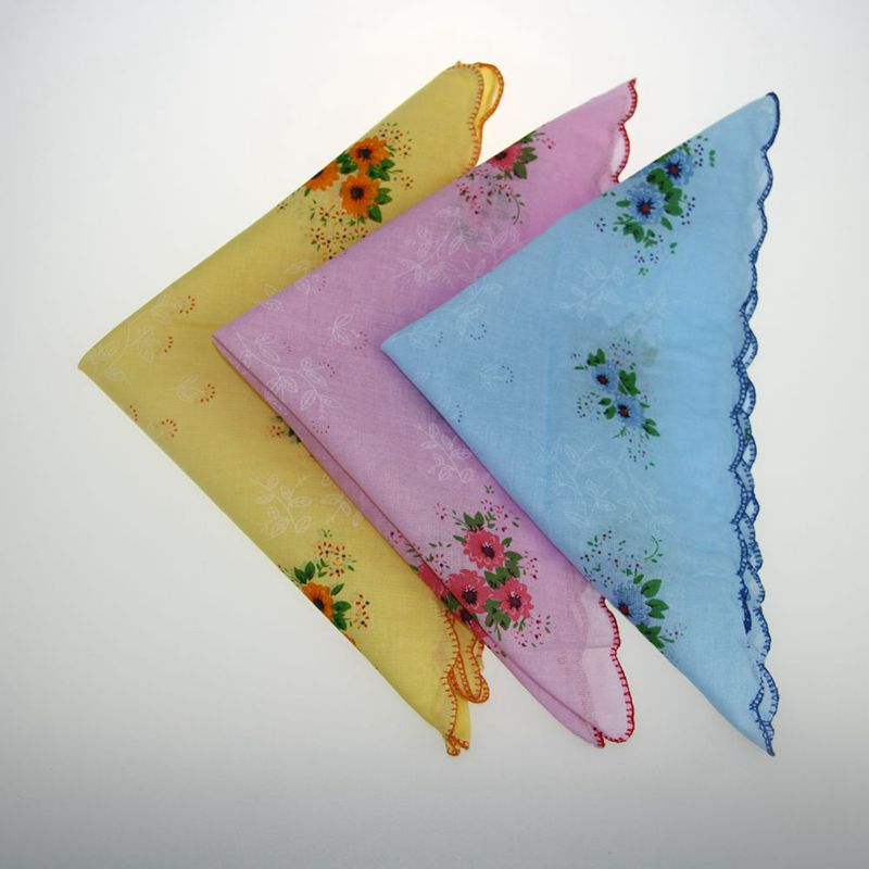 5X Retro Style Floral Flower Bird Handkerchief Lady Women Cotton Hanky 30CM*30CM ZXY9540
