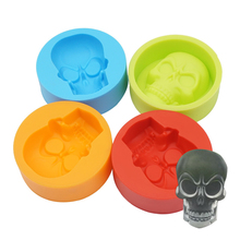 1PC silicone skull ice mold muffin cup cake mold kitchen accessories silicone rubber chocolate candy fondant cake baking tools skeleton skull head silicone chocolate muffin cupcake candy ice cube mold halloween