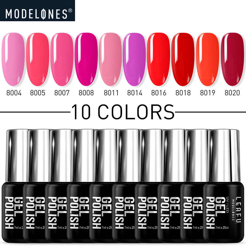 Modelones 10 Pcs/lot Pink Series LED Gel Nail Varnish Semi Permanen Hybrid UV Nail Varnish Gel Rendam Off Salon Sinar UV kuku Gel Set