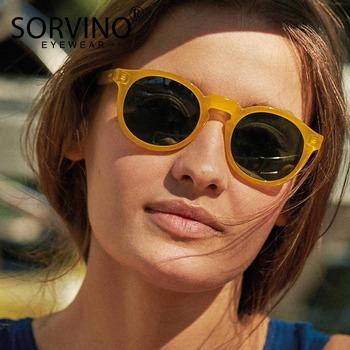SORVINO Retro okrągły kot okulary przeciwsłoneczne damskie luksusowe marki 90s projektant pomarańczowy różowe lustrzane koło Cateye okulary odcienie SP326 tanie i dobre opinie CN (pochodzenie) WOMEN Akrylowe ROUND Adult STOP MIRROR Gradient UV400 50MM trending product 2019 chic big frame crystal party Gift oculos