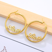 цена на 1 Pair Big Round Circle Custom Earring Personalized Stud Earrings For Women Stainless Steel Jewelry Pendientes Mujer Moda 2019