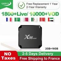 X96 мини IPTV французский арабский ящик Android 7,1 2 Гб 16 Гб четырехъядерный процессор Amlogic S905W QHDTV 1 год подписка Франция арабский Алжир IPTV