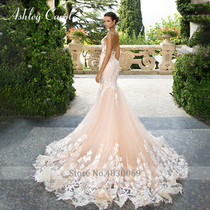 Image 5 - Ashley Carol Invisible Neckline Mermaid Wedding Dresses 2020 Sexy Backless Bride Dress Romantic Lace Appliques Wedding Gowns