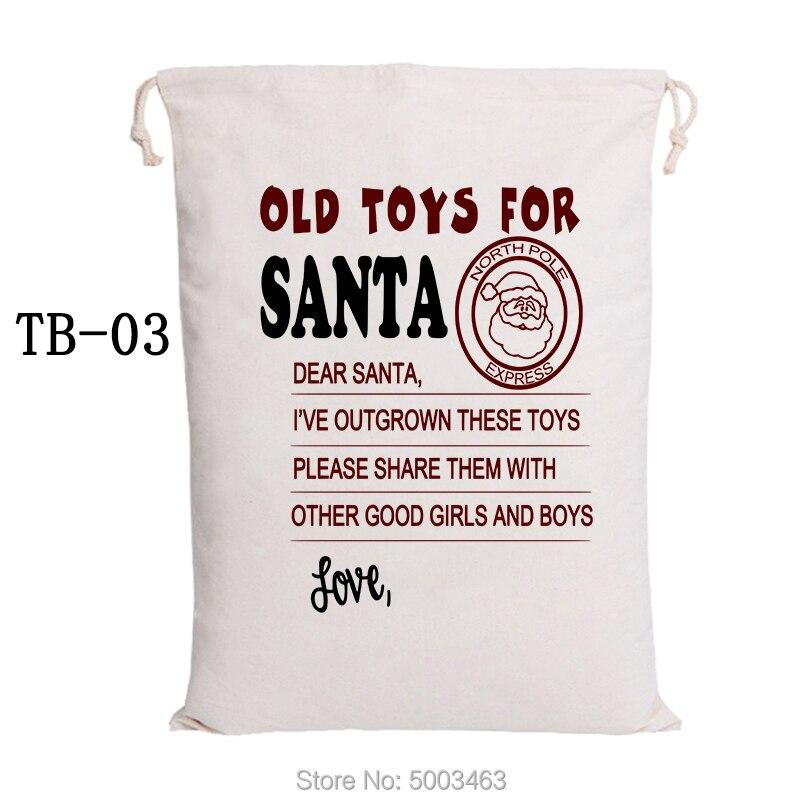 Canvas Candy Bags Christmas Bag 20pcs/lot Santa Sack Santa Claus Drawstring Bags Graduation Party Decoration Handmade Gift